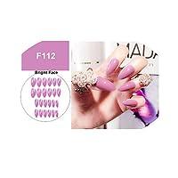 ネイル24個偽爪つや消しマット無地偽造爪アクリルロングシャープスティレットネイルチップ、F112