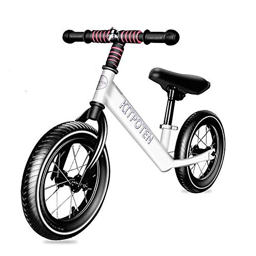 Balance Bike for 4 Year Old Boys & Girls, 12 Inch High-Carbon Zinc-Plated Balance to Pedal Bike, Eco-Friendly Soft Widen Pneumatic Tire, Cute Balancing Bike with Stainless Steel Iron Rim-White