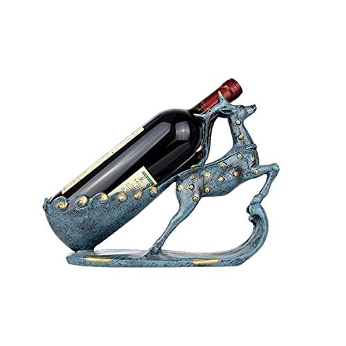 Estante de vino Botellas individuales, encimera Sika Deerswan en forma de vino Botellas de vino Racks, Titular de vidrio de vino azul, organizador de almacenamiento de vino Puesto gratis, estantes de