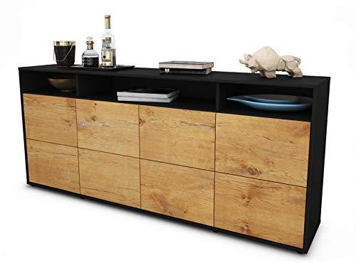 Stil.Zeit Sideboard Evita/Korpus anthrazit matt/Front Holz-Design Eiche (180x79x35cm) Push-to-Open Technik