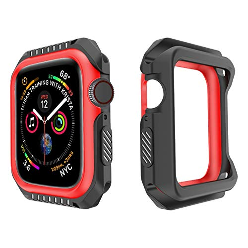 CGRA Custodia Protettiva per Shell per IWATCH Series 6 SE 5 4 3 2 1 Copertura in Silicone PC Bumper per Apple Watch 44mm 40mm 42mm 38mm Nuovi Accessori, (Color : Black Red, Dial Diameter : 38mm)