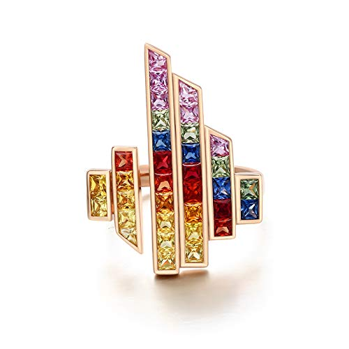Aeici Ring Oro amarillo 18k, Anillos De Matrimonio De Oro Zafiro azul 2.7ct, Cuadrado, Talla 22