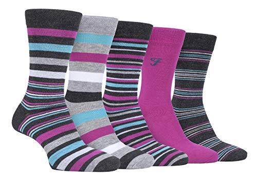 FARAH® - 5er Pack Herren Bambus Socken | Uni Bunt & Gestreift Socken (Charcoal/Pink, 39-45)