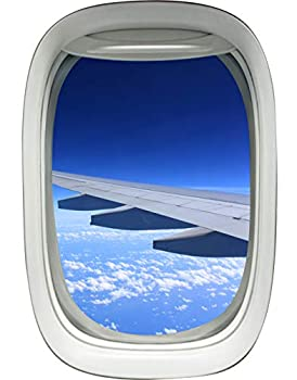 Airplane Window Decal Wing Sky Clouds Mural Peel and Stick Aviation Decor VWAQ-A02