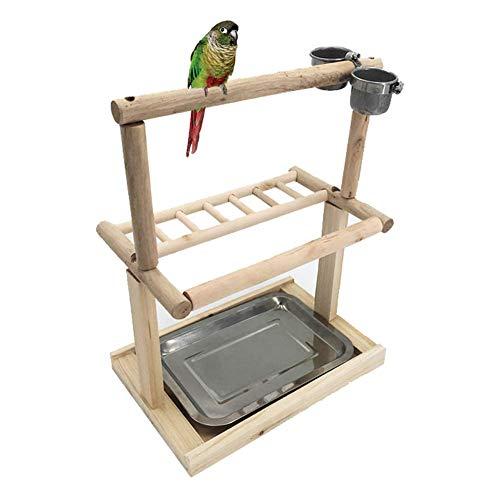DX Bird Game Stand, Houten Papegaai Speeltuin Gym Game Fence Perch met Ladder & RVS Lade Geschikt voor Training Oefeningen,S