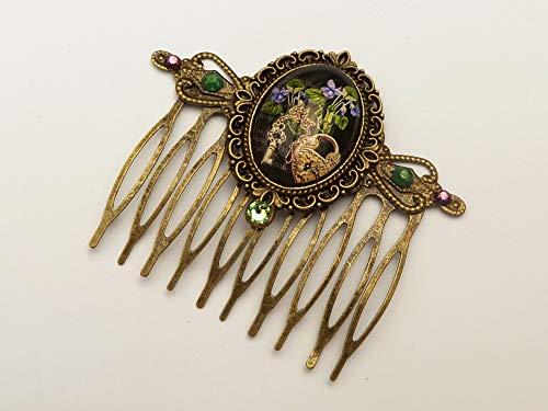 Haarkamm mit Veilchen, Schloß und Schlüssel