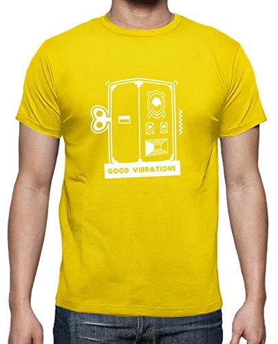 tostadora - T-Shirt Gute Schwingungen - Manner Zitronengelb L