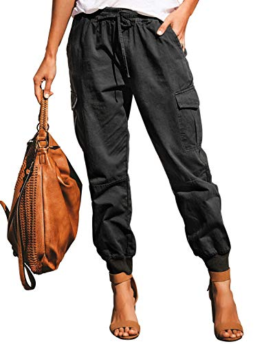 Ohvera Women's Solid High Waist Cargo Pants Joggers Trousers with Drawstring Tie Pockets Black X-Large (Keela Scuffer Trousers Best Price)