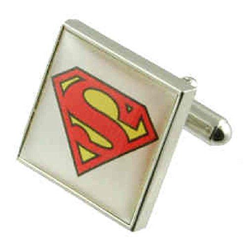 Superman gemelos para hombres Gemelos de plata de ley sólida 925+ caja de grabado mensaje, personalizable