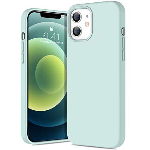 Miracase iPhone 12 miniケース 5.4インチ 対応 アイフォン12 mini 液状シリコンケース iPhone 12 miniケース シリコン ソフトケース 耐衝撃 カバー 衝撃吸収 指紋防止 薄型 ケース 軽量 ワイヤレス充電対応 (ミントグリーン)