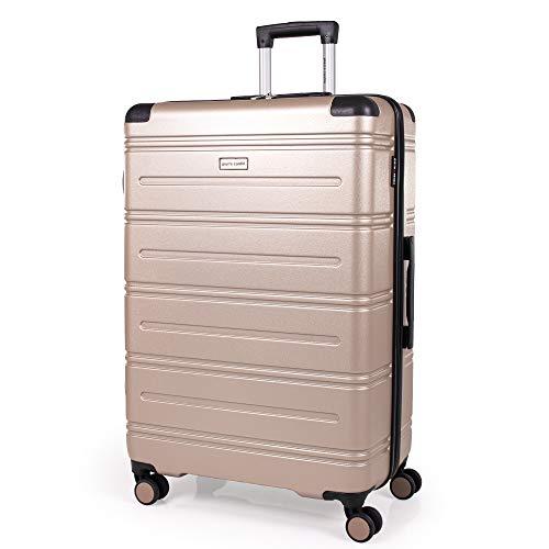 Pierre Cardin ABS Hartschalenkoffer – Reisegepäck mit 8 Spinner Rädern, Teleskopgriff, Hartschalenkoffer Lyon CL889 Beige champagnerfarben Large