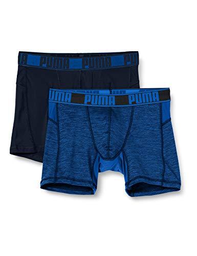 PUMA Mens Active Grizzly Melange Men's Boxers (2 Pack) Boxer Shorts, Blue, M (2er Pack)