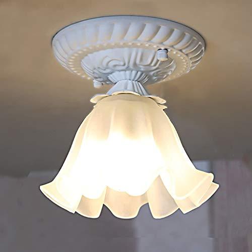 YANQING Duurzame Plafondlampen Moderne Pastorale Plafondlamp, Bloemvormige glazen lampenkap, Corridor Aisle Balkon Plafondlamp (E27) Plafondlampen (Kleur : Wit), Kleur: Wit