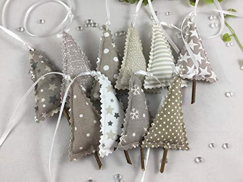 10 kleine Tannenbäume aus Stoff in taupe/natur/weiß,Weihnachten,Dekobäume