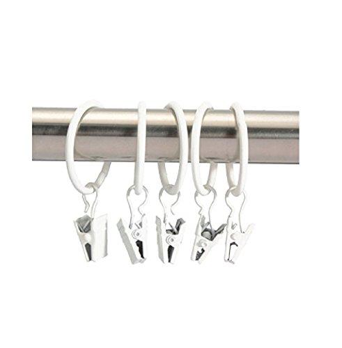 Miya@ hochwertige 30 Packung Metall Vorhang Clip Ringe Gardinenringe mit Clip Drapery Vorhang Ringe mit Clip (Weiss)