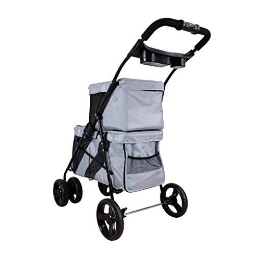 DongYuYuXuXi Kinderwagen voor huisdieren, kinderwagen voor twee kinderen, minibus voor hond en kat Grijs
