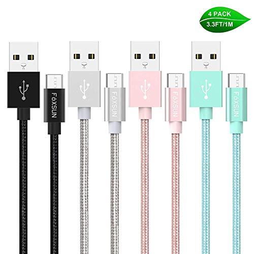 Micro USB Kabel Foxsun [4-Pack 1M] Nylon Micro USB Schnellladekabel High Speed Android Handy Ladekabel für Samsung Galaxy S7/ S6/ J7/ Note...