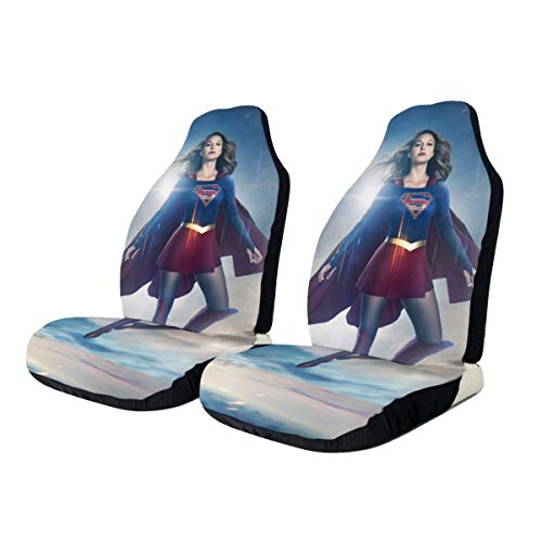 Heavenly Battle Supergirl Car Seat Covers Accessories Set Super Soft Vehicle Seat Decoration Protector Cover Bag 2 Pieces Set