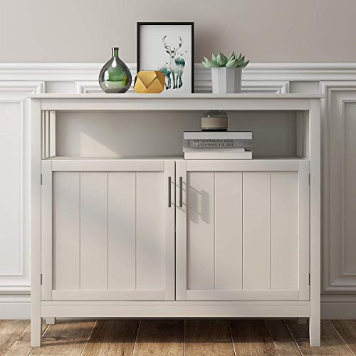 RASOO Buffet Cabinet, White Kitchen Buffet Storage Cabinet Dining Room Buffet Server Cabinet Cupboard with 2 Doors and One Adjustable Shelf for Kitchen,Bedroom,Dining Room