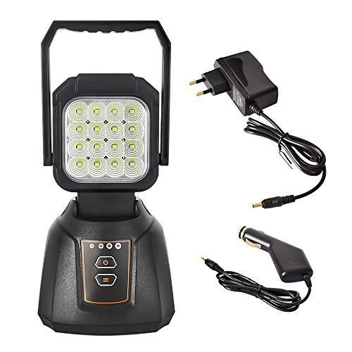 Lámpara Camping Recargable, YEEGO Foco LED Proyector 48W LED Linterna para Emergencia Luz de Trabajo Taller Automóviles Patio Jardín y Modo SOS Base Magnética
