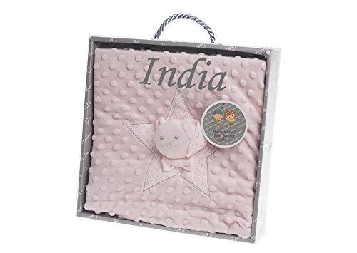 Manta Bebe Personalizada con nombre bordado- danielstore (Osito rosa)