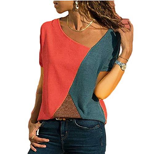 Wamvp Donna Magliette Manica Corta Donna T-Shirt in Cotone Basic Camicetta Estivo Camicia Casuale Top