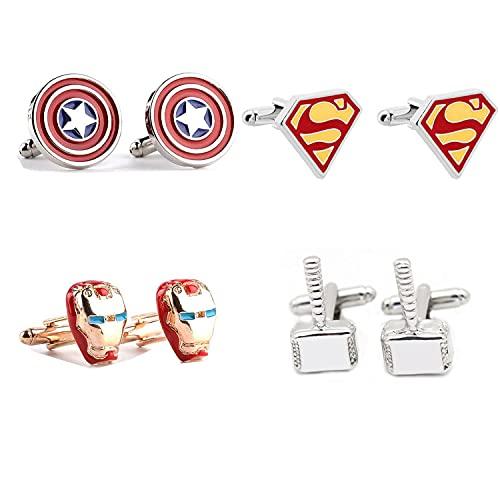 4 Paires Avengers Boutons De Manchette Super-Héros Iron Man Thor Captain America Flash Deadpool Batman Pinces À Cravate pour Hommes Chemise De Soirée Bouton De Manchette