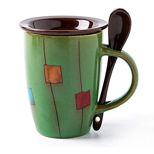 Funny Mugs 12 Oz Vintage Ceramic Mug Tea Cup With Lid and Spoon Office and Home Enamel Mugs Green