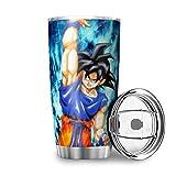 """Generic - Tazza da viaggio con scritta in inglese """"Son Goku"""", in acciaio inox, idea regalo per amici, per casa, ufficio, scuola, esterno, 600 ml, colore: bianco"""