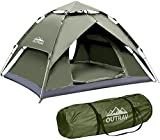 Outrav Easy Automatic Pop-Up Camping Tents for 3-4 People – Lightweight Quick Setup Instant Pop Open Cabin with Two Way Zipper, Lamp Hook, Net Curtain, Stakes, Rope, Carrying Bag