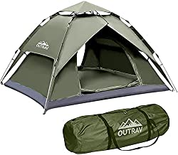 Outrav Easy Automatic Pop-Up Camping Tents for 1-2 People – Lightweight Quick Setup Instant Pop Open Cabin with Two Way Zipper, Lamp Hook, Net Curtain, Stakes, Rope, Carrying Bag