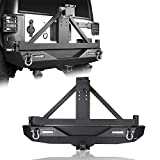 Hooke Road Steel Rear Bumper with Spare Tire Carrier & Hitch Receiver w/2 LED Lights Compatible with Jeep Wrangler JK & Unlimited 2007-2018