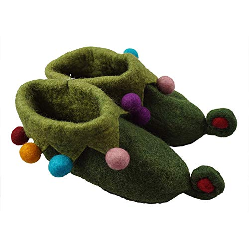 musimon lustige Hausschuhe Filzschuhe 100% Wolle (42 EU, grün)