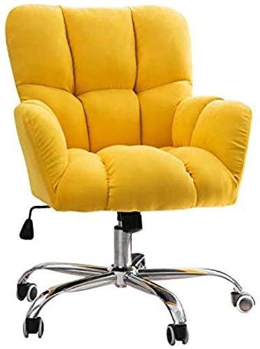 Silla giratoria tapizada de terciopelo silla de oficina moderna estilo simple silla de ordenador sofá individual para el hogar/sala de estar/cama habitación gris-amarillo perfecto