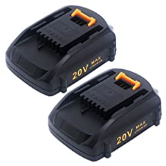 All compatible: 3.0Ah 20V Li-ion replacement battery for Worx 20-Volt Max Lithium tools Battery WA3520, WA3575, WA3575, WA3578. MaxLithium technology and 3.0Ah capacity can provide longer working time. Works Fine: Work for all Worx 18V/20V(2x20V) Max...