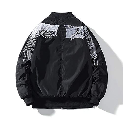 UNUStyle Bomberjacke Japanische Harajuku Jugend Streetwear Weiß Flügel Stickerei Dicken Frachtmantel College Casual Classic Hip Hop Herren Kleidung Warmer Winter Herbst, S.
