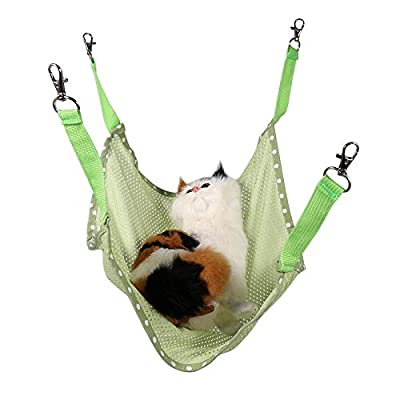 HEEPDD Cat Hammock, Summer Breathable Mesh Hanging Bed Soft Pet Rest Sleepy Pad for Cats Puppy Ferrets Rabbits Other Small Animals(Green S) from HEEPDD