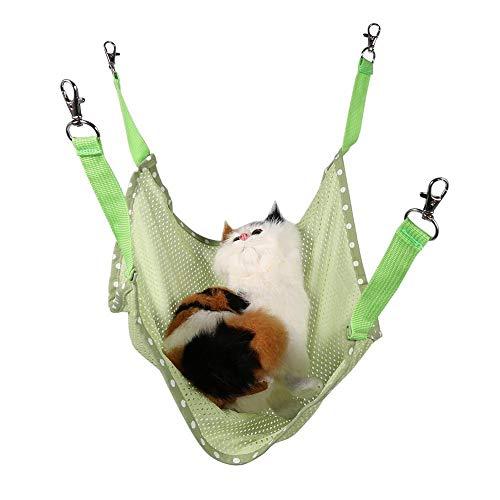 HEEPDD Katzenkäfig-Hängematte, Sommer atmungsaktives Mesh-Hängebett Weiche Haustier ausruhen Schlafen Matte für Katzen Welpen Frettchen Kaninchen Andere Kleintiere (Grün s)