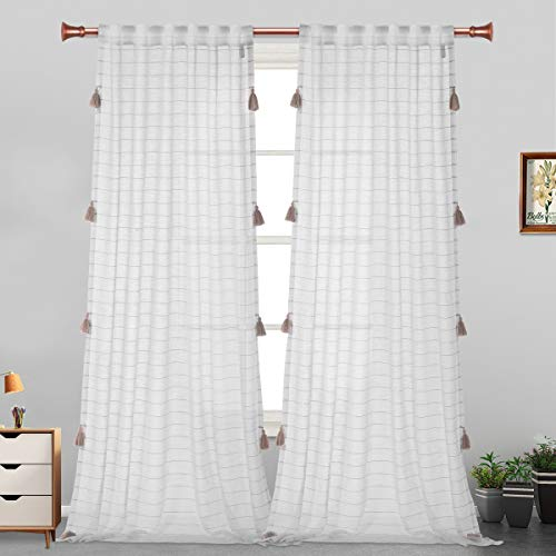 LORDTEX Handmade Tassels Sheer Curtains for Bedroom - Textured Faux Linen Curtains, Belgian Linen Light Filtering Back Tab and Rod Pocket Drapes for Living Room, 2 Panels, 52 x 63 inch, Khaki