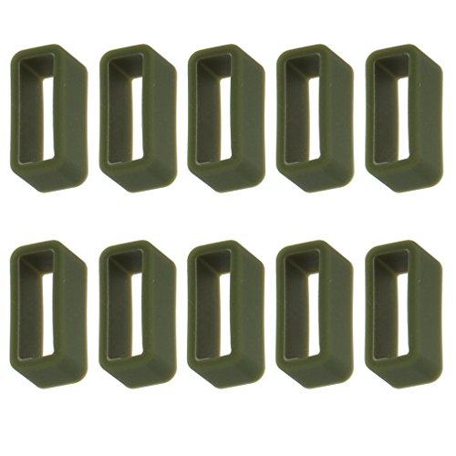Bonarty 10 Piezas Correa de Reloj Reemplazo Retención Aro Cierre de Bucle 16 Mm Opción de Color - Verde Oscuro, 14 mm