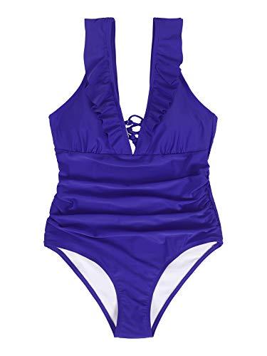 Eledobby Maiô feminino Sexy Deep V Bikini com Bojo Praia Maiô Cor sólida com Babado Sling One-Piece Maiô de férias
