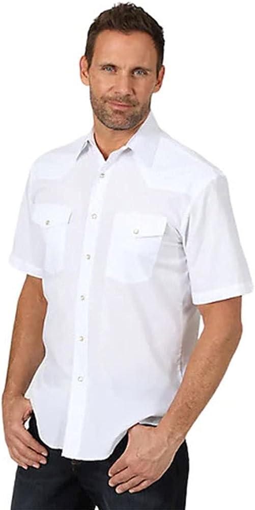 Wrangler Men's Solid Short Sleeve Snap Sport Western Shirt White
