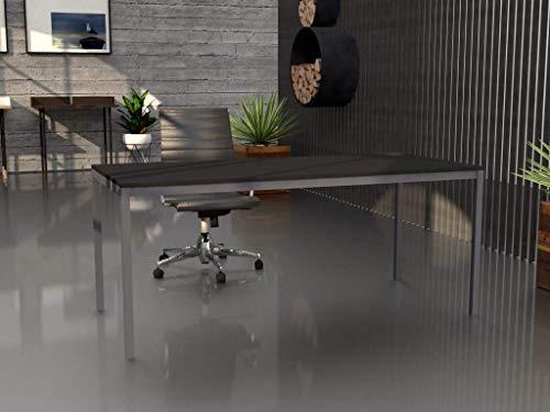 Mesa de oficina con estructura perimetral, de 180x80cm. FABRICACIÓN NACIONAL. Entrega de 3 a 5 dias. (TABLERO GRIS GRAFITO, ESTRUCTURA GRIS PLATA)