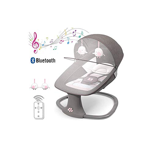 ZXLA 3-in-1 Multi-function Baby Bouncer, Electric Baby Rocking Crib, Smart Bluetooth Electric Baby Rocking Chair, Five-Speed Swing, Three-Speed Timing, Battery or USB Powered, Soft & Comfortable