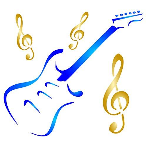 Gitarre Schablone–wiederverwendbar Musikinstrument Violinschlüssel Musik Schablonen für Malerei–zur Verwendung auf Papier Projekte Scrapbook Tagebuch Wände Böden Stoff Möbel Glas Holz etc. m