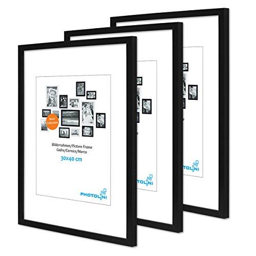PHOTOLINI 3er Set Poster-Bilderrahmen 30x40 cm Modern Schwarz aus MDF mit Acrylglas/Posterrahmen/Wechselrahmen