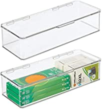 mDesign Long Plastic Stackable Box Home, Office Supplies Storage Organizer Box with Attached Hinged Lid - Holder for Note Pads, Gel Pens, Staples, Dry Erase Markers, Tape - 3