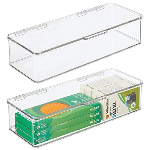 mDesign Long Plastic Stackable Box Home, Office Supplies Storage Organizer Box with Attached Hinged Lid - Holder for Note Pads, Gel Pens, Staples, Dry Erase Markers, Tape - 3' High, 2 Pack - Clear