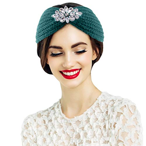 Seguire Frauen Gestricktes Stirnband,Stirnbänder Gestrickte Haarband,Häkeln Haarreifen Haarreif Blumen Stirnbänder Ohrwärme Kopfwickel Winter Kopfwickel elastische Accessoires Haar