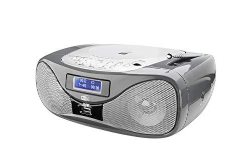 Radio mit CD • Digitalradio • UKW-Radio • Boombox • CD-Player • Stereo Lautsprecher • AUX-Eingang • USB-Anschluss • Netz- / Batteriebetrieb • Tragbar • Grau • Dual DAB-P 160